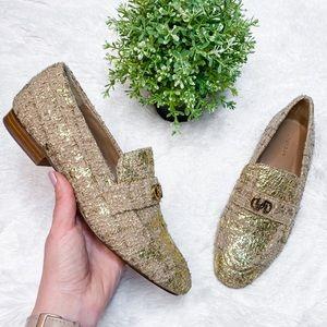 Uterque Gold Metallic Kitten Heel Dressy Loafers
